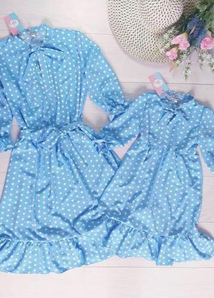Летние платья в горошек Мама и дочка