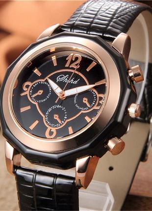 Мужские наручные классические кварцевые часы gold/black