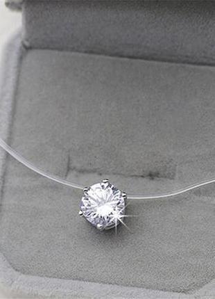 Акция♥камушек кристалл (кулон подвеска колье чокер) на силикон...