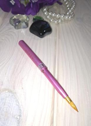 Кисть для макияжа губ нанесение блесков и помад раздвижная pink