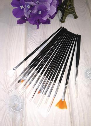 Кисти для маникюра набор 15 шт в футляре black/silver probeauty