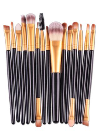 Кисти для макияжа  набор 15 шт black/gold probeauty