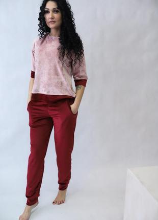 Женский велюровый костюм (кофта + штаны) бордо