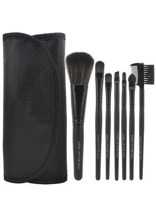 Кисти для макияжа набор 7 шт в футляре make-up for you black p...