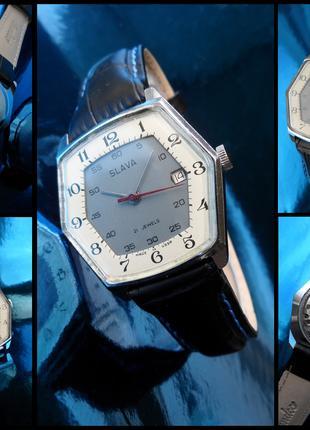 6 угольные, 2 барабанные часы СЛАВА-2414 сделано в СССР 70-Х.
