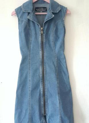 Джинсовое платье на молнии, джинсовое платье, платье из денима