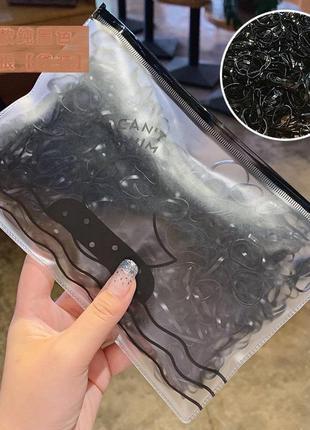 Набор детских резинок для волос. черные 500 шт.