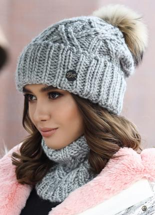 Вязаный комплект «Энеис» (шапка и шарф-хомут) Артикул : 4638-7