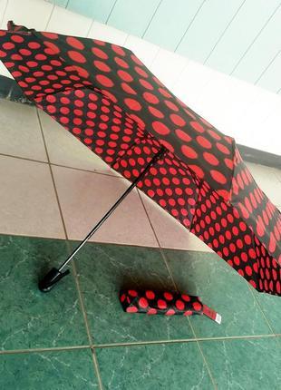 Зонт зонтик компактный зонт полуавтомат облегченный в горох.