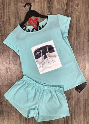 Одежда для дома - пижама футболка шорты в бирюзовом цвете