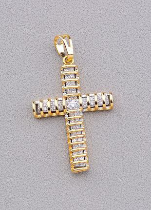 Крестик 'xuping' фианит (позолота 18к) ост. 1 шт.