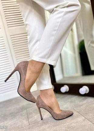 ❤ женские бежевые замшевые туфли лодочки  ❤