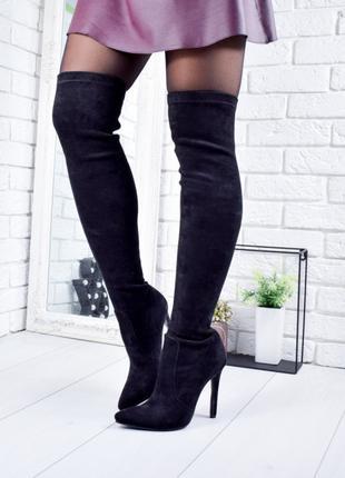 Оригинальные сапоги женские ботфорты черные Stella 8169