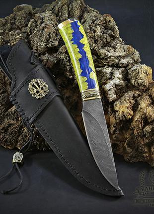 """Нож ручной работы """"Патриот"""" (дамасская сталь) с кожаными ножнами"""