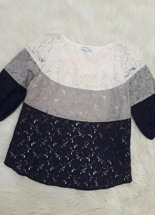 Красивая коттоновая кружевная блузка в три цвета раз.s