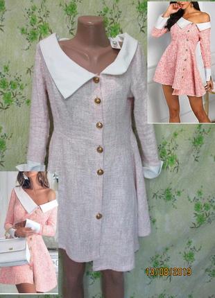 Асимметричное мини платье с воротничком