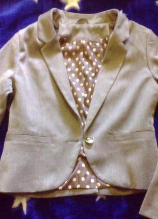 Школьный серый пиджак жакет h&m