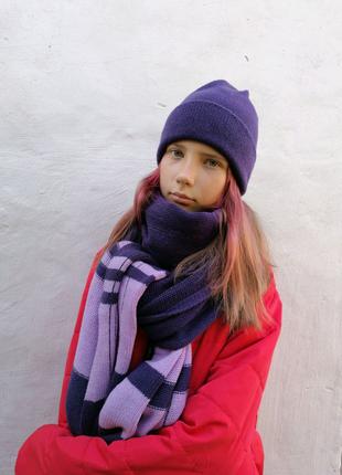 Вязаный зимний комплект - шапка, шарф