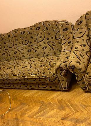 Раскладной диван + два кресла