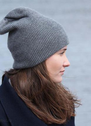 Женская шапка на осень и зиму, шапка серая теплая люрексовая нить