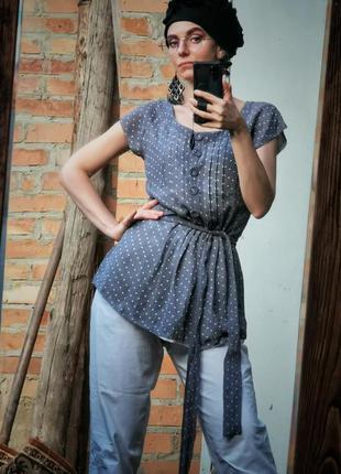 Блуза шелковая limited collection шелк в горошек с поясом прит...