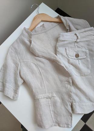 100% лляной костюм юбка и рубашка на лето, лляной костюм на лето