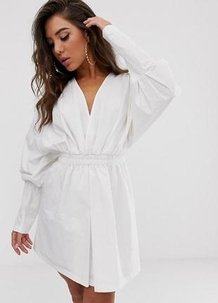 Красивое белое коттоновое платье рубашка с длинными рукавами