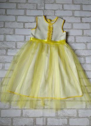Нарядное желтое платье на девочку с фатином