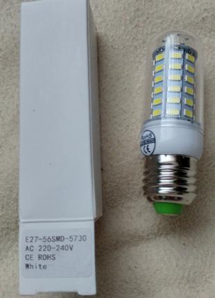 Светодиодная лампа под цоколь E27, 56 SMD 5730 кукуруза