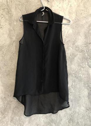 Легкая блузка безрукавка удлиненная туника из шифона s-ка