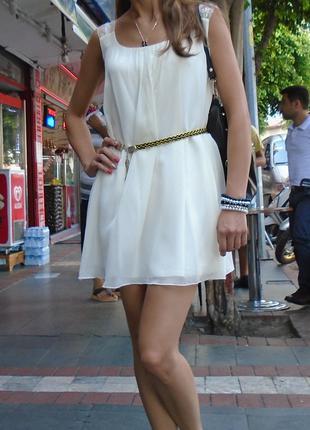 Платье шифоновое молочное (xs, s, m)