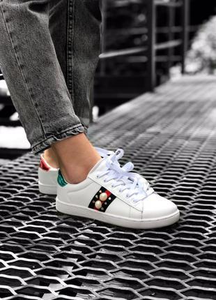 Gucci кеди белые женкие кроссовки
