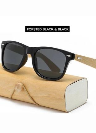 Бамбуковые солнцезащитные очки мужские женские в деревянной оп...