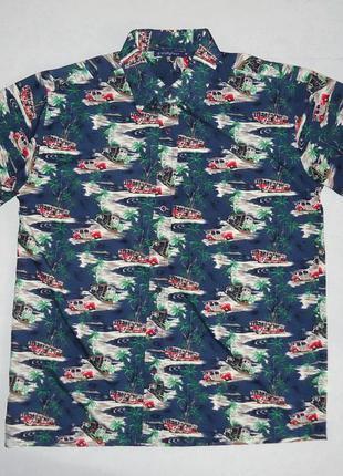 Рубашка гавайская sixtyfour с машинками гавайка (m-l)