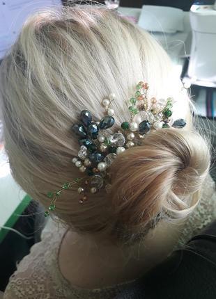 Веточка для волос украшение из бусин вечернее