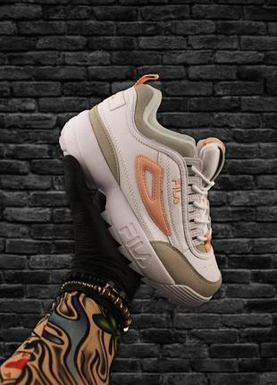 Кроссовки fila disruptor 2 white gray orange белые серые оранж...