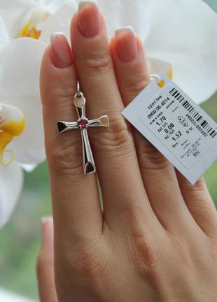 Крест серебро 925 с золотом крестик 908