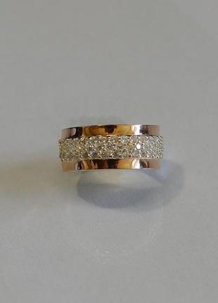 Кольцо серебро 925 с золотом 029к