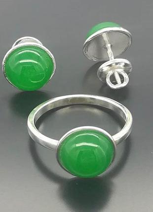 Набор серебро 925 кольцо и серьги жадеит чер034