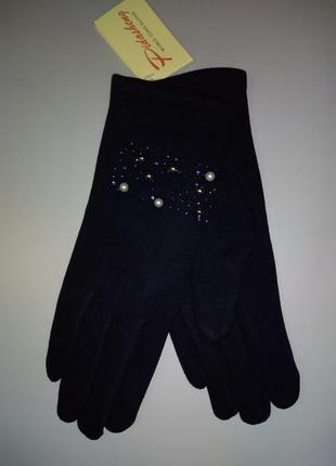 Стрейчевые перчатки на коротком меху