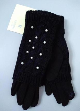 Перчатки утепленные  стрейчевые на плюше с сьемной митенкой се...