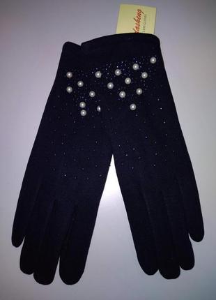 Перчатки стрейчевые на коротком меху / плюше