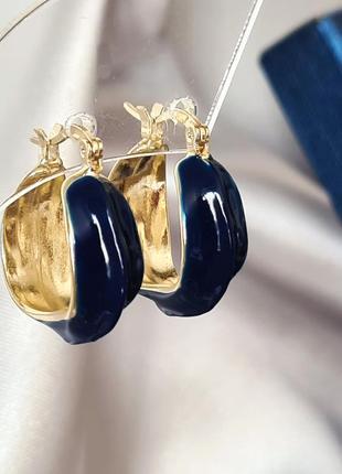 Серьги кольца с синей эмалью.