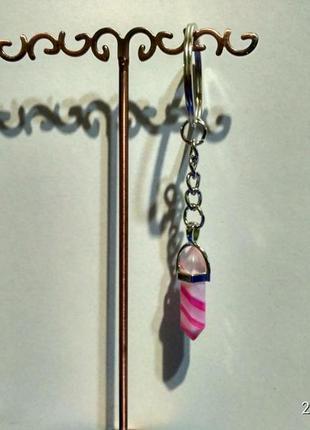 Стильный брелок-оберег из камня-кристалл(агат розовый)
