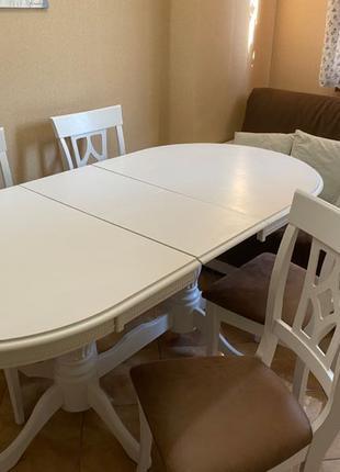Стол дубовый со стульями обеденный раскладной для кухни/столовой