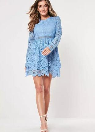 Голубое кружевное платье от missguided