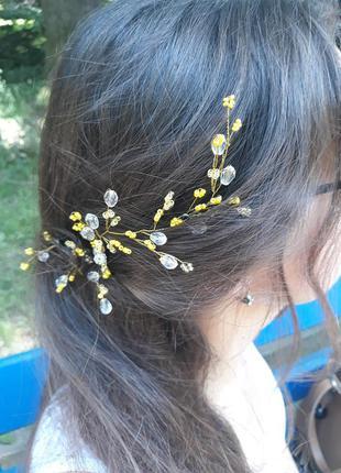 Украшение для волос, веточка в прическу из бусин и бисера