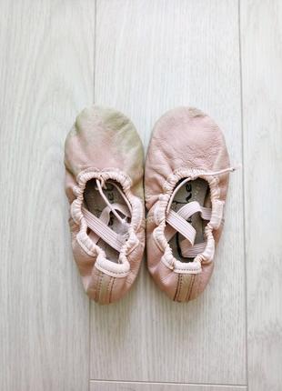 Детские кожаные балетки, чешки для танцев и спорта на девочку