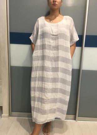 Льняное платье бохо стиль италия