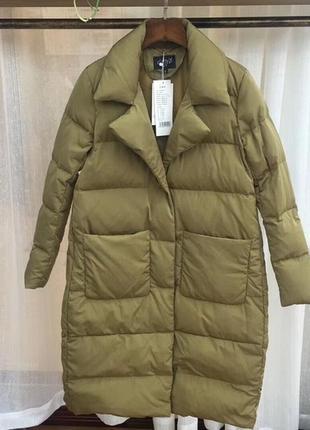 Женский длинный пуховик пальто зимний